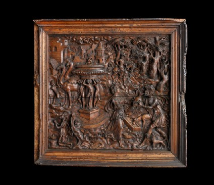 Carved panel representing Jacob at the well