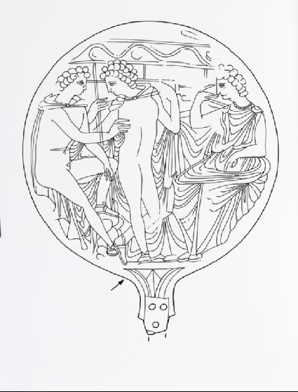 Mirror incised with Helen, the Dioskouroi and Athena