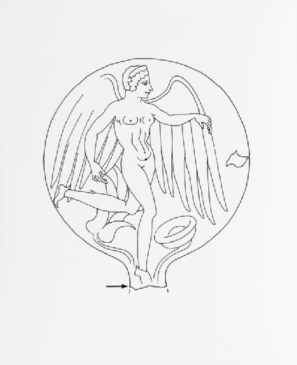 Mirror with incised winged figure