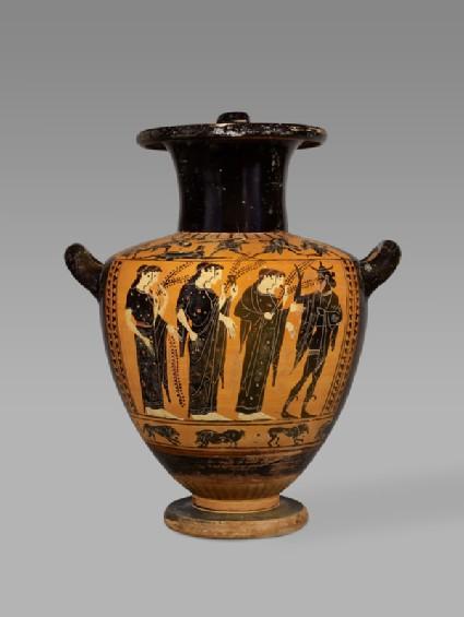 Attic black-figure pottery hydria depicting a mythological scene