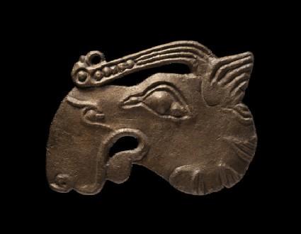 Bronze plaque in the shape of an elk's head