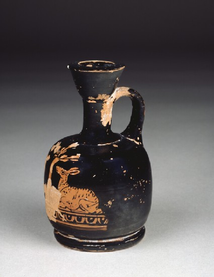 Attic red-figure pottery lekythos depicting fawns