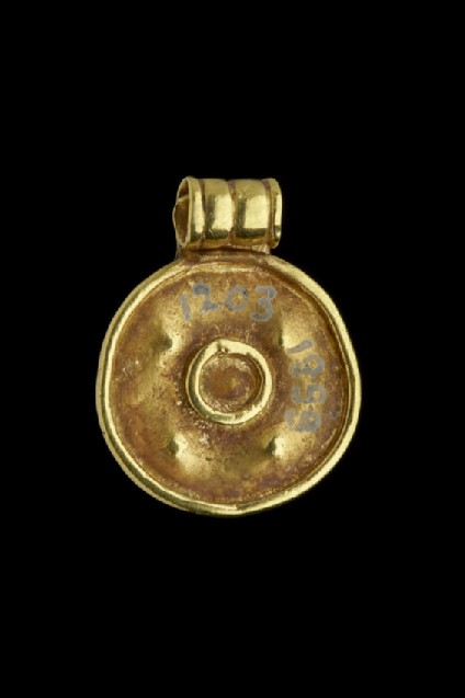 Circular pendant, Gold bulla: Plain on one side, the other with attached rim and central circle, five dots, op has barrel-shaped ring for suspension
