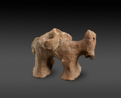 Red Polished or Matt Polished donkey figurine with panniers, part of a plastic decoration of the shoulder of a large jar