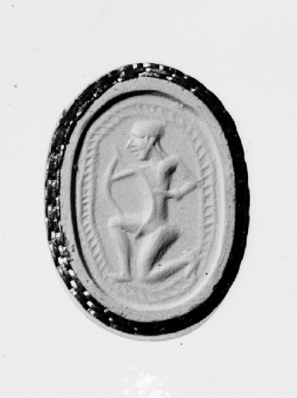 Scarab stamp seal with an archer