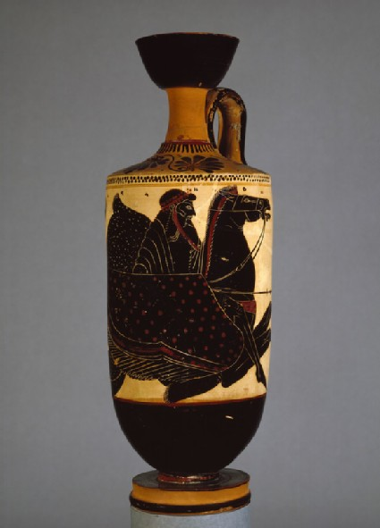 Attic black-figure white ground pottery lekythos depicting a mythological scene