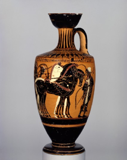 Attic black-figure pottery lekythos depicting a wedding scene