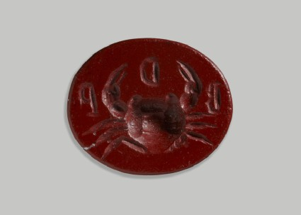 Jasper intaglio of crab with inscription B D P