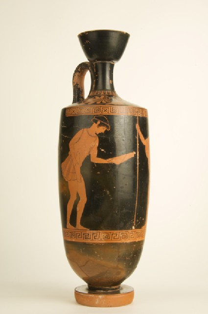 Attic red-figure pottery lekythos depicting a military scene
