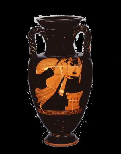 Attic red-figure amphora depicting a mythological figure