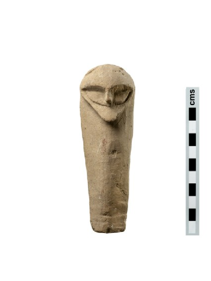 Limestone votive figure, plank-shaped with a male bearded head