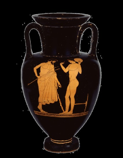 Attic red-figure pottery amphora depicting an athletics scene