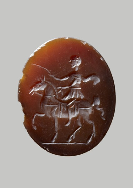 Sardonyx engraved gem with emperor on horseback and palm of victory