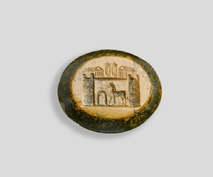 Intaglio gem, Trojan horse before the gates of Troy