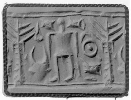 Cylinder seal, human figure with ingot, tree, bucranium