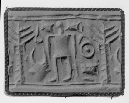 Cylinder seal, human figure with ingot, tree, bucranium