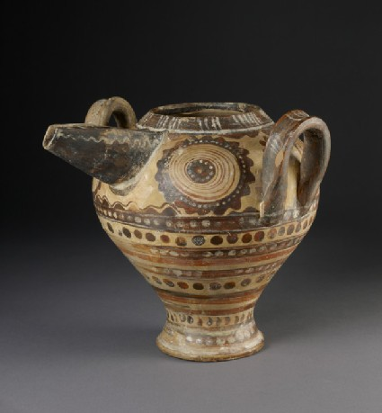 Two-handled spouted jug with dark-on-light polychrome decoration