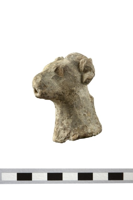 Ram or goat head of votive figurine, possible vessel