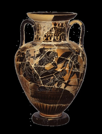 Attic black-figure pottery amphora depicting a mythological scene
