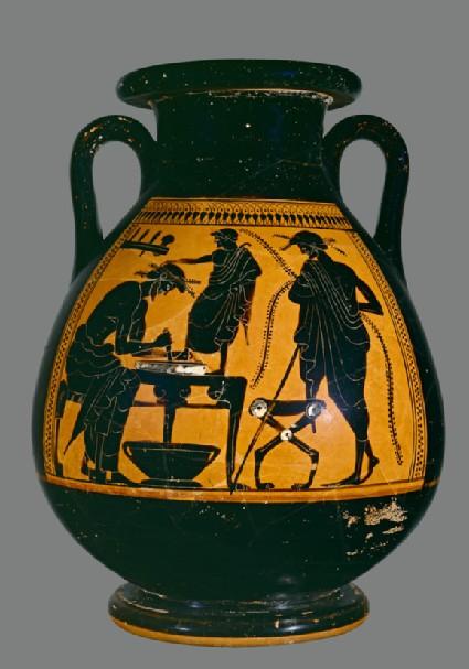 Attic black-figure pottery pelike depicting a scene of daily life