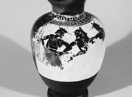 Attic black-figure white ground pottery oinochoe depicting the capture of Dolon