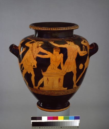 Attic red-figure pottery stamnos depicting a mythological scene