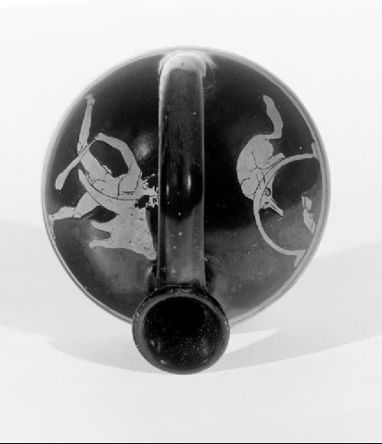 Attic red-figure pottery askos depicting a hunting scene
