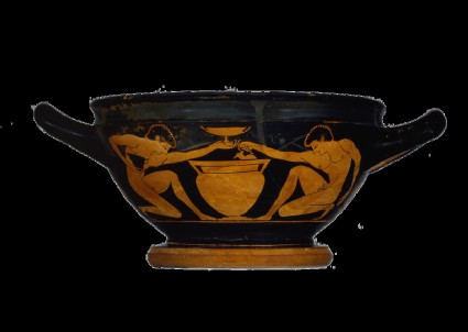 Attic red-figure pottery cup depicting naked youths