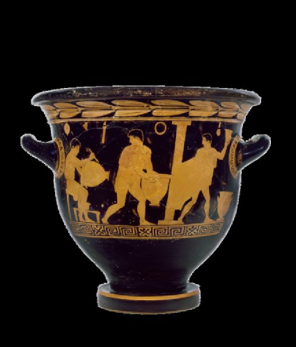 Attic red-figure pottery bell-krater depicting a scene of daily life