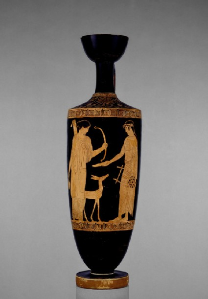 Attic red-figure pottery lekythos depicting a mythological scene
