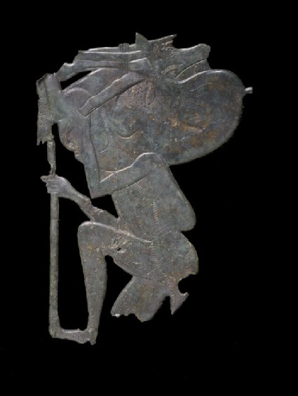 Bronze plaque of huntsman carrying a goat