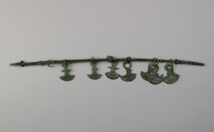 Rim fragment from tray with anchor shaped pendants