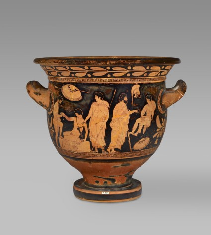 Attic red-figure bell-crater (wine-mixing bowl) depicting warriors and youths