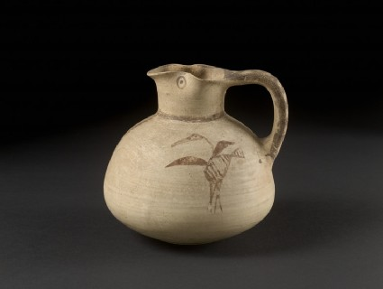 Bichrome Free-Field style sack-shaped juglet with bird (heron or ibis) and plant design, Amathousian style