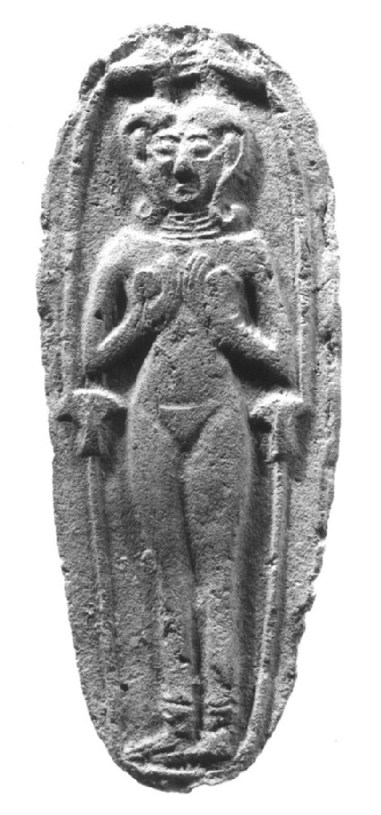 Plaque figurine with nude female in low relief