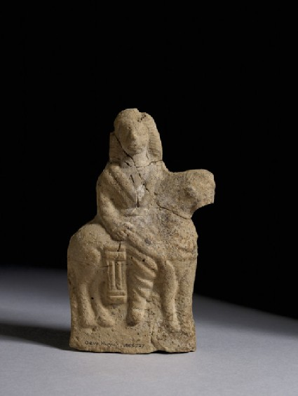 Terracotta figurine of a man on horseback