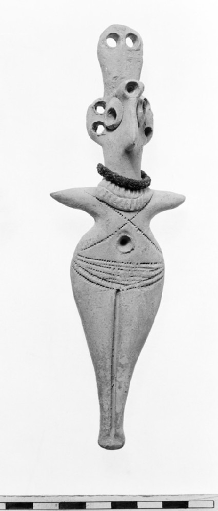 Figurine of goddess wearing bronze ring around neck