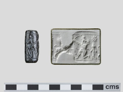 Assyrian cylinder seal depicting winged quadruped, archer and star above tasselled spade on pedestal