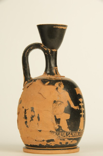 Attic red-figure pottery lekythos depicting an outdoor scene
