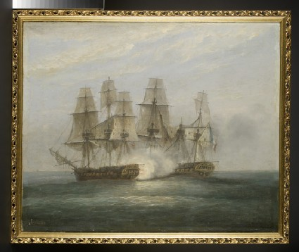 Oil painting of the engagement between H.M.S. Phoenix and the French Frigate Didon, 10 August 1805
