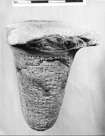Cone with 22 lines of cuneiform on the external faces and another 20 on the underside