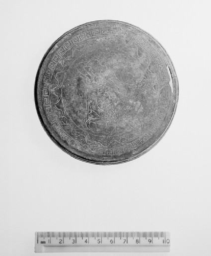 Mirror with forged engraving copied from red-figure cup