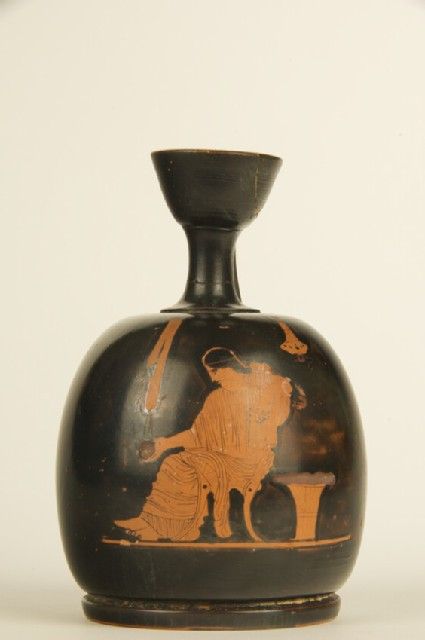 Attic red-figure pottery lekythos depicting a domestic scene