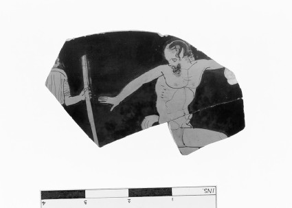 Attic red-figure pottery krater fragment depicting a Dionysiac scene
