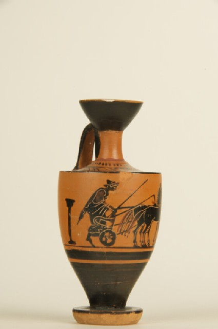 Attic black-figure pottery lekythos depicting a mythological scene