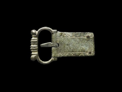 Inscribed bronze buckle with pin and strap-plate