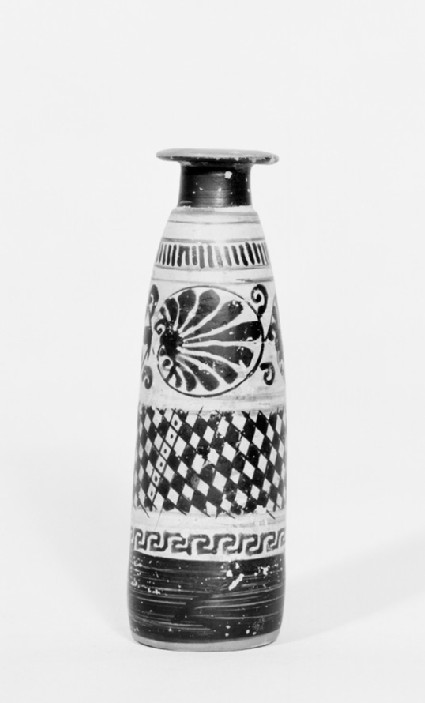 Attic black-figure white ground pottery unguent jar