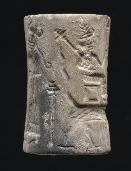 Cylinder seal with Old Akkadian mythological scenes