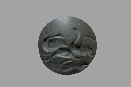 Lentoid seal depicting waterfowls