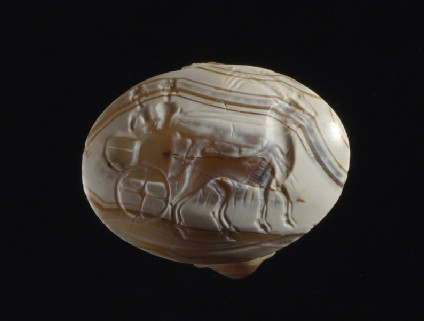 Signet ring seal depicting two figures in a chariot